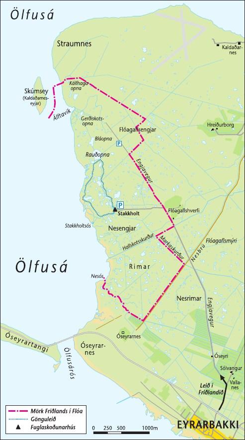 Kort af Friðlandinu í Flóa