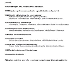 Dagskrá Mófuglaráðstefna