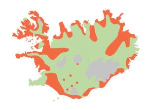 Varpútbreiðsla lóms. Kortið byggir á gögnum frá Náttúrufræðistofnun Íslands