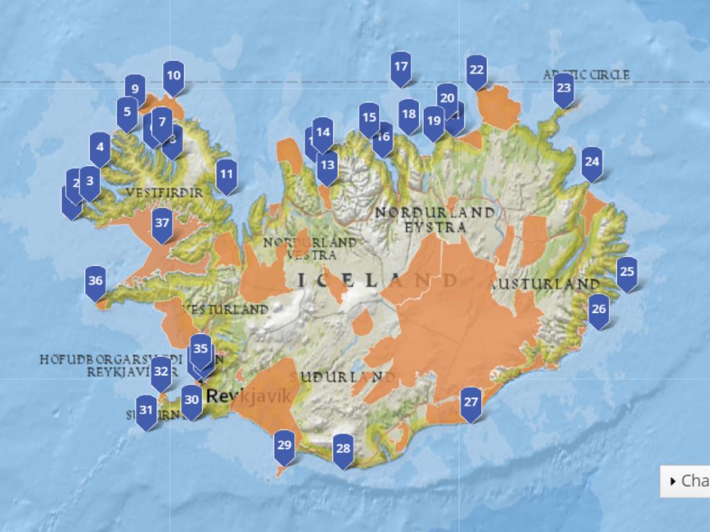 37 seabird colonies in Iceland